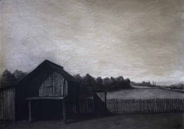 Village-Charcoal-on-paper