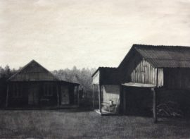Village-charcoal on paper, 50x70