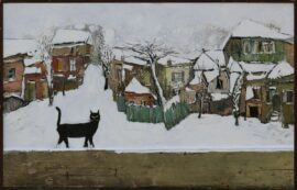 Chagela-Black-Cat-oil-on-canvas-and-wood-78x120-cm