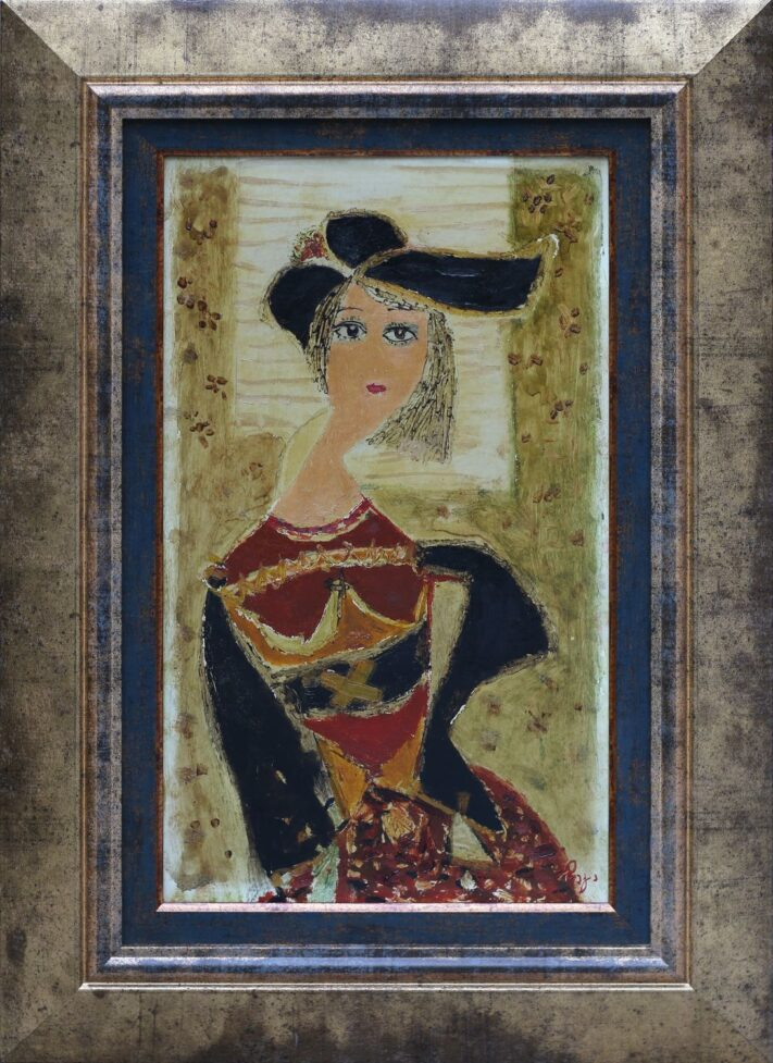 chagela-lady-with-a-black-hat-oil-on-plywood-42x24cm-1987-2
