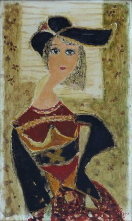 chagela-lady-with-a-black-hat-oil-on-plywood-42x24cm-1987