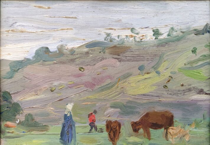 Grazing Cows - oil on cardboard