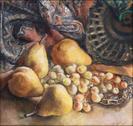 Ana Gabriadze - Still Life with pears and grapes 30 x 30 cm 2021