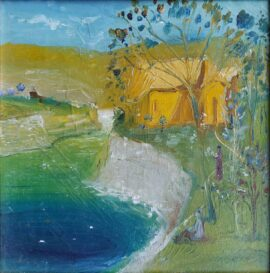 Gia Bughadze - House by the Water - 30 x 30 cm. oil on canvas 1983