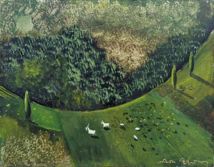 Nino Peradze - Landscape with Goats - 24 x 30 cm.