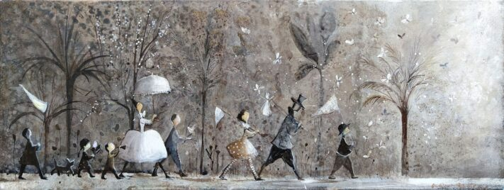 Hunting Butterflies, 29 x 80 cm. acrylic on canvas
