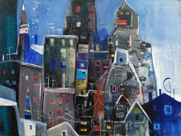 From the series colorful towns acrylic on canvas, 60 x 80 cm.